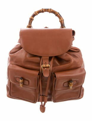 Gucci Vintage Bamboo Backpack Brown