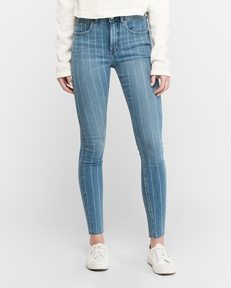 Express High Waisted Striped Denim Perfect Ankle Skinny Jeans