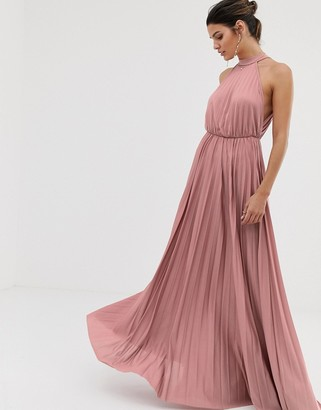 Asos Design DESIGN halter pleated waisted maxi dress-Pink