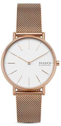 Skagen Signatur Rose Gold-Tone Mesh Bracelet Watch, 38mm