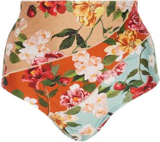 Agua de Coco Floral-Print High-Rise Bikini Bottom