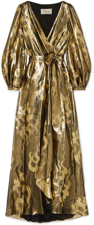 Temperley London Eda Wrap-effect Silk And Lurex-blend Jacquard Maxi Dress
