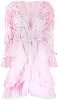 ZUHAIR MURAD Bead-Embellished Ruffle Mini Dress