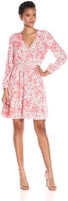 Cynthia Steffe Cece By CeCe by Women's Gemma Long-Sleeve V-Neck Floral Wrap Dress