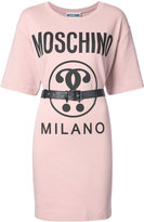 Moschino belted logo T-shirt dress