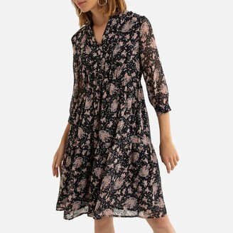 See U Soon Floral Print Mini Dress with 3/4 Length Sleeves and V-Neck