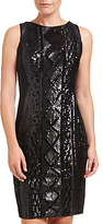 Adrianna Papell Sleeveless Cable Sequin Cocktail Dress, Black