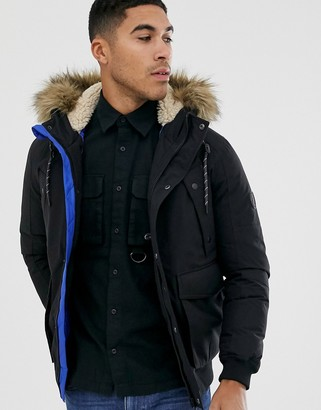 Jack and Jones Originals short parka in black