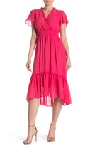 Gabby Skye Short Sleeve Chiffon Midi High/Low Dress