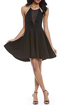 GB Halter Neck Chiffon Illusion-Inset Skater Dress
