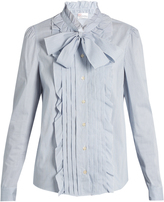RED Valentino Ruffle-trimmed cotton-blend poplin shirt