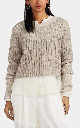 Raquel Allegra Women's Flecked Alpaca-Blend Crop Sweater - Cream