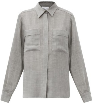 Raey Sheer Wool-blend Shirt - Grey Marl