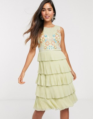 Frock and Frill tiered embellished mini dress in green
