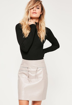 Missguided Grey Triple Zip Faux Leather Mini Skirt