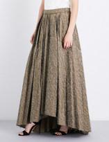 Brunello Cucinelli High-rise embellished cotton-blend max skirt