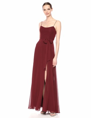 Jenny Yoo Women's Kiara Fit and Flare Tie Back Long Chiffon Gown