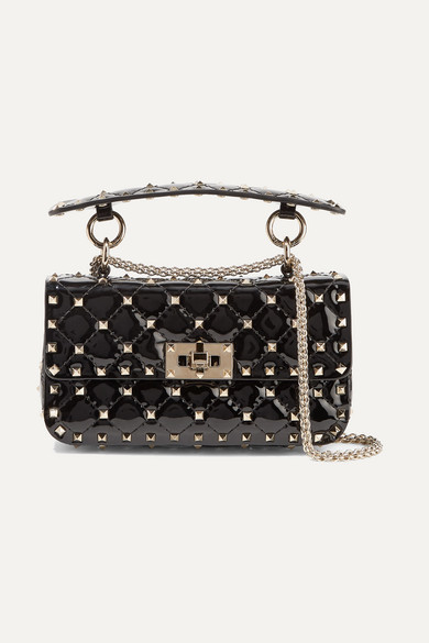 Valentino Garavani The Rockstud Spike Small Quilted Patent-leather Shoulder Bag - Black