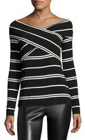 Bailey 44 Tyler Striped Wrap-Front Top, Black/Natural