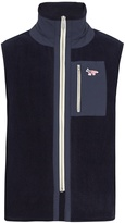 MAISON KITSUNÉ Fox-appliqué high-neck fleece gilet