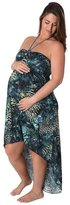 Ingear Maternity Peacock Medallion Hi Low Dress