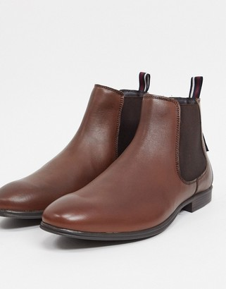 Ben Sherman chelsea boots in brown leather