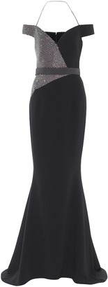 Safiyaa Embellished stretch-crApe gown