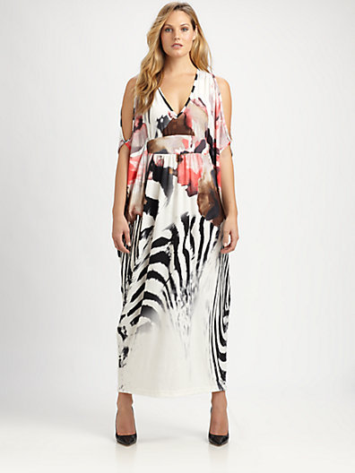 Melissa Masse Melissa Masse, Salon Z Printed Cold-Shoulder Maxi Dress