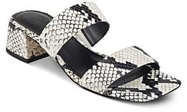 Marc Fisher Women's Pat Square Toe Mid Heel Sandals