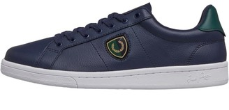 Fred Perry Mens B721 Leather Shields Badge Trainers Carbon Blue