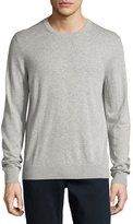 Burberry Richmond Check-Patch Cashmere-Blend Sweater, Pale Gray Melange