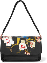 Elizabeth and James Willa Suede And Embroidered Shell Shoulder Bag - Black