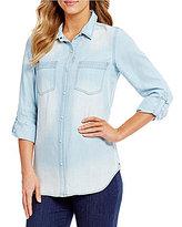 Intro Roll-Tab Sleeve Button Front Slub Lyocell Shirt