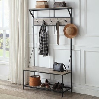 17 Stories Hilyard Hall Tree with Bench and Shoe Storage Color: Gray Wash