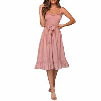 Lancy Luna Women's Vintage Elegant Midi Cocktail Swing Dress Ruffle Flounce Hem Lace up A-Line Party Dress Pleated Slim-Fit Skirt Pink