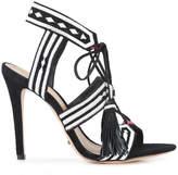 Schutz patterned strap fringe tie sandals
