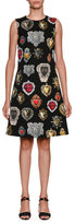 Dolce & Gabbana Sleeveless A-Line Heart Brocade Dress
