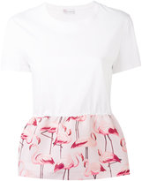 RED Valentino flamingo peplum top - women - Cotton/Polyester - M