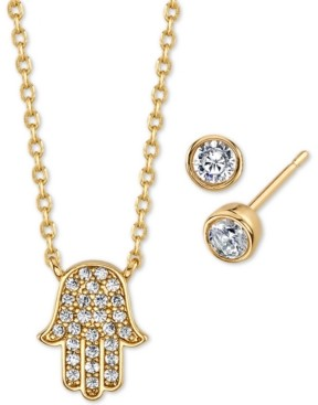 Unwritten 2-Pc. Set Cubic Zirconia Mini Hamsa Hand Pendant Necklace & Stud Earrings in Gold-Tone, Created for Macy's