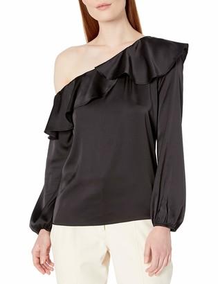 Lark & Ro Amazon Brand Women's Asymmetrical Blouse with Ruffle