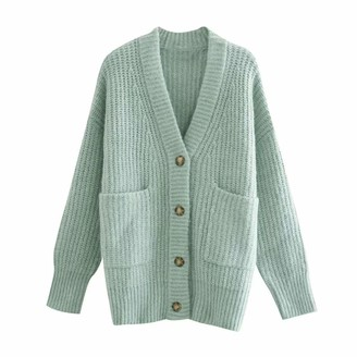 YTYH Loose Casual Sweater Top Green Long Knitted Cardigan Women Long Sleeve V Neck Patch Pocket Chunky Cardigan M Green