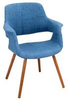 Lumisource Vintage Flair Mid Century Modern Walnut Wood Legged Dining Chair Polyester/Blue