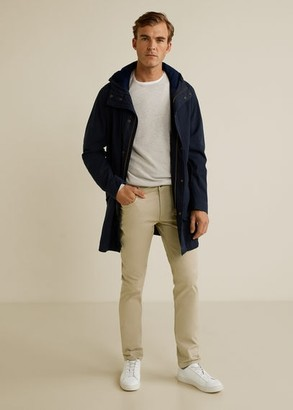 MANGO Slim fit denim-effect serge trousers