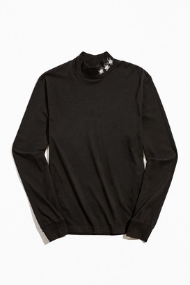 Urban Outfitters Embroidered Mock Neck Long Sleeve Tee