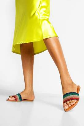 boohoo Rainbow Stripe Metallic Sliders