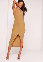 Missguided Plunge Front Split Midi Dress Camel