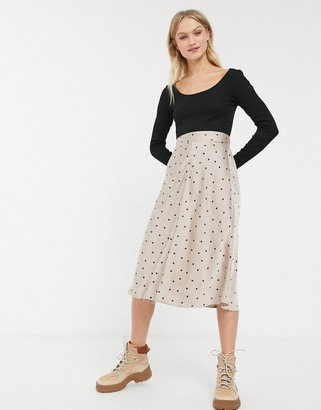 Monki polka dot a-line midi skirt in beige