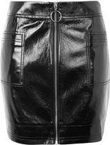 Topshop TALL Vinyl Zip Mini Skirt