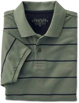 Charles Tyrwhitt Slim Fit Green and Navy Striped Pique Cotton Polo Size XL