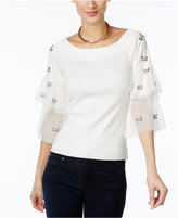 INC International Concepts Embellished Tulle-Sleeve Sweater, Only at Macy's